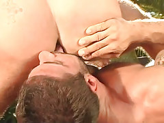 Bear man-lover licks intense males ass outdoor