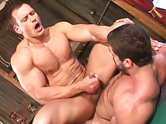 Muscle gay cums on hairy paunch