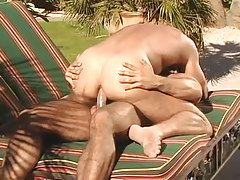Muscle gay dilf rides massive phallus outdoor