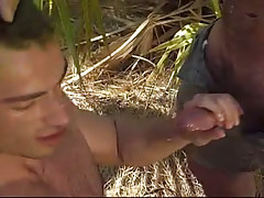 Hairy homosexual purchases cream in tropic forest