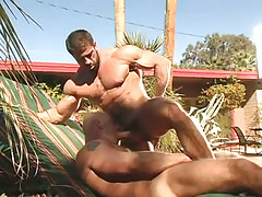 Muscle dilf sucked by chap outdoor