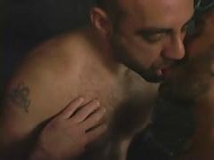 Hairy twink men kissing