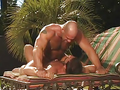 Hairy homosexual stud enthusiastic jumps on cock in nature