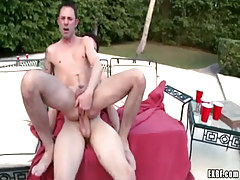 Horny gay rides shlong in pools orgy