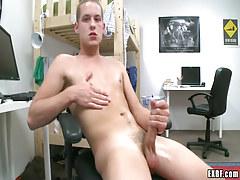 Blond adolescent man-lover masturbates