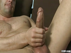 Hairy dilf masturbates on mattress