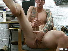 Lusty guy plays with cock and fingering rectal hole