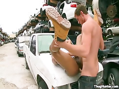 Ebony coed accepts unfathomable anal on car