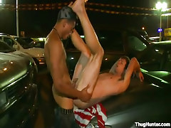 Chocolate homo fucks bad stud sub on car