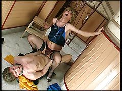 Sex-addicted sissy guy getting his geared up fuckhole compressed with strong meat