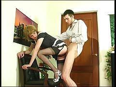 Upskirt homosexual sissy in unfit nylons giving head and getting group-bonked from behind