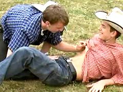 Adorable lil cowboys enjoy oral molests on grass
