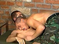 Handsome army dude sub cums on his partner later on cock swallowing