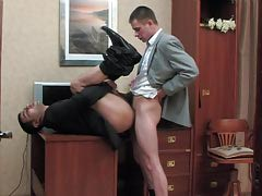 Pervy co-worker and his gay boss having cock-break after intense working day