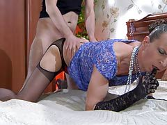 Dressed get joy a lady effeminate putting his gullet and rear to plow up in man-on-man