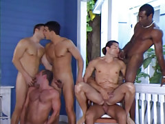 Six interracial fruit males suck and fuck by pool